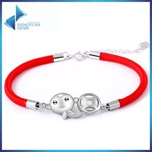 925 sterling silver red rope bracelet for gift