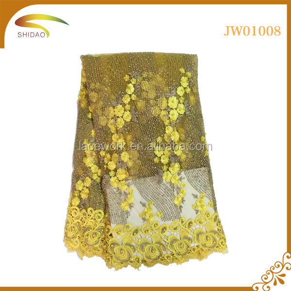 custom big discount yellow water soluble voile floral cord lace fabric,cord lace fabric 5 yard