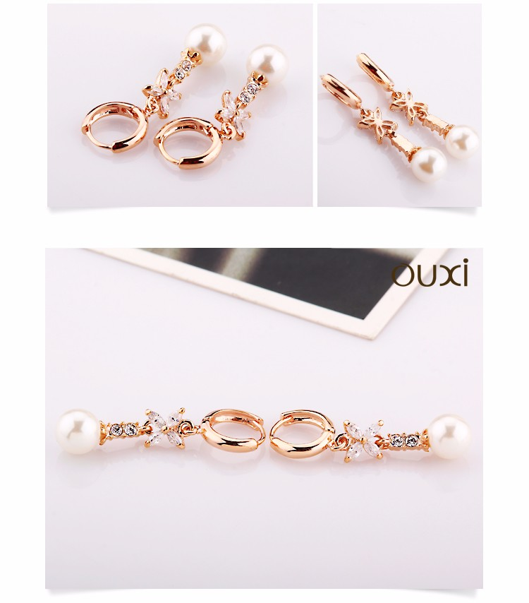 OUXI Online Big Sale Women Daily Wear New Design 18K Rose Gold Plated Crystal Dangle Pearl Hoop Earrings
