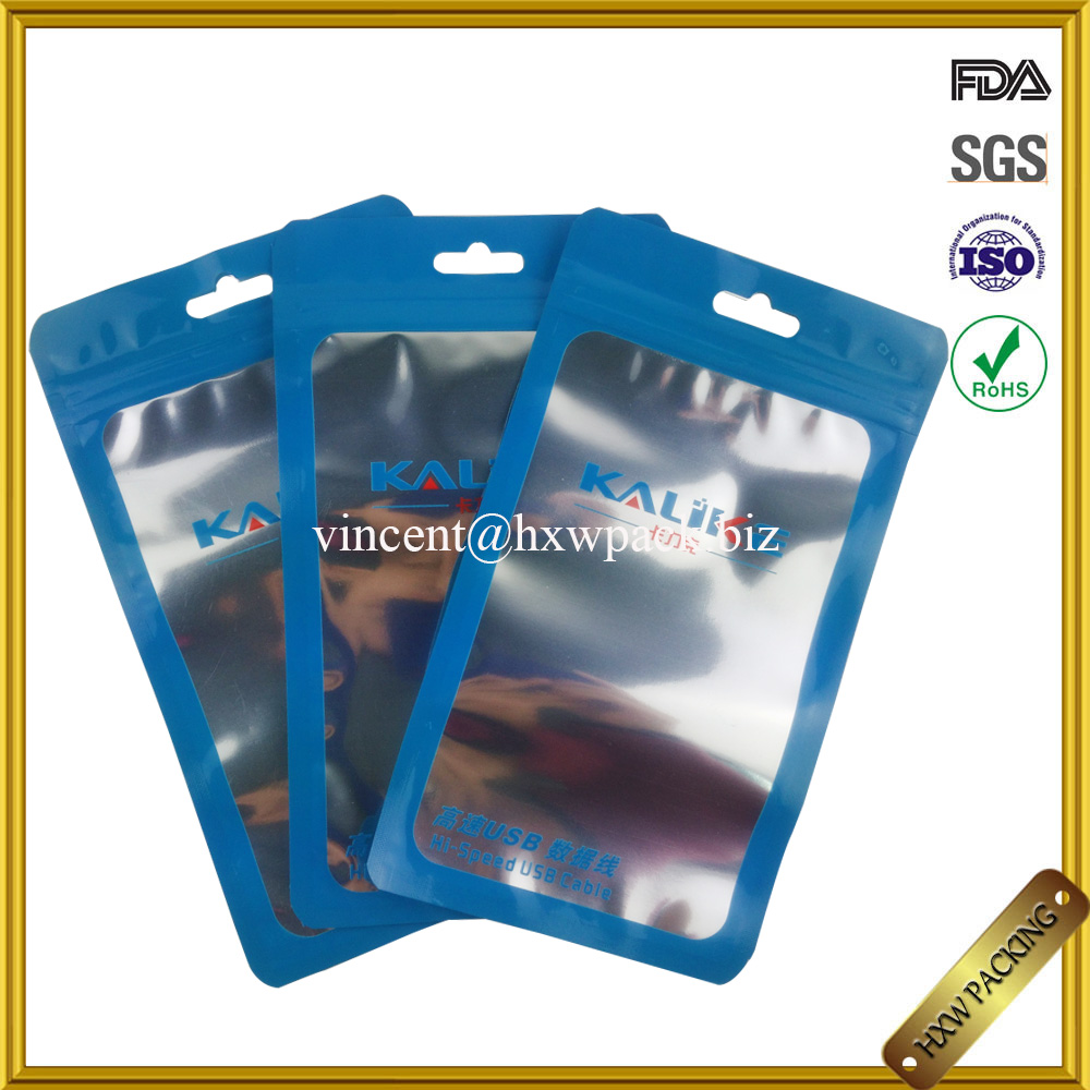 custom printing three side seal electronic laminated poly bag with zipper