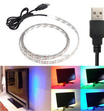 red/green/blue/white color USB powered LED strip light + IR44 keys TV mood light 5V SMD5050