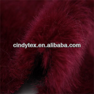 15mm burgandy plushed soft acrylic polyester imitation rabbit fake fur fabric