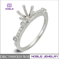 18K white gold semi mounting engagement diamond ring jewelry set