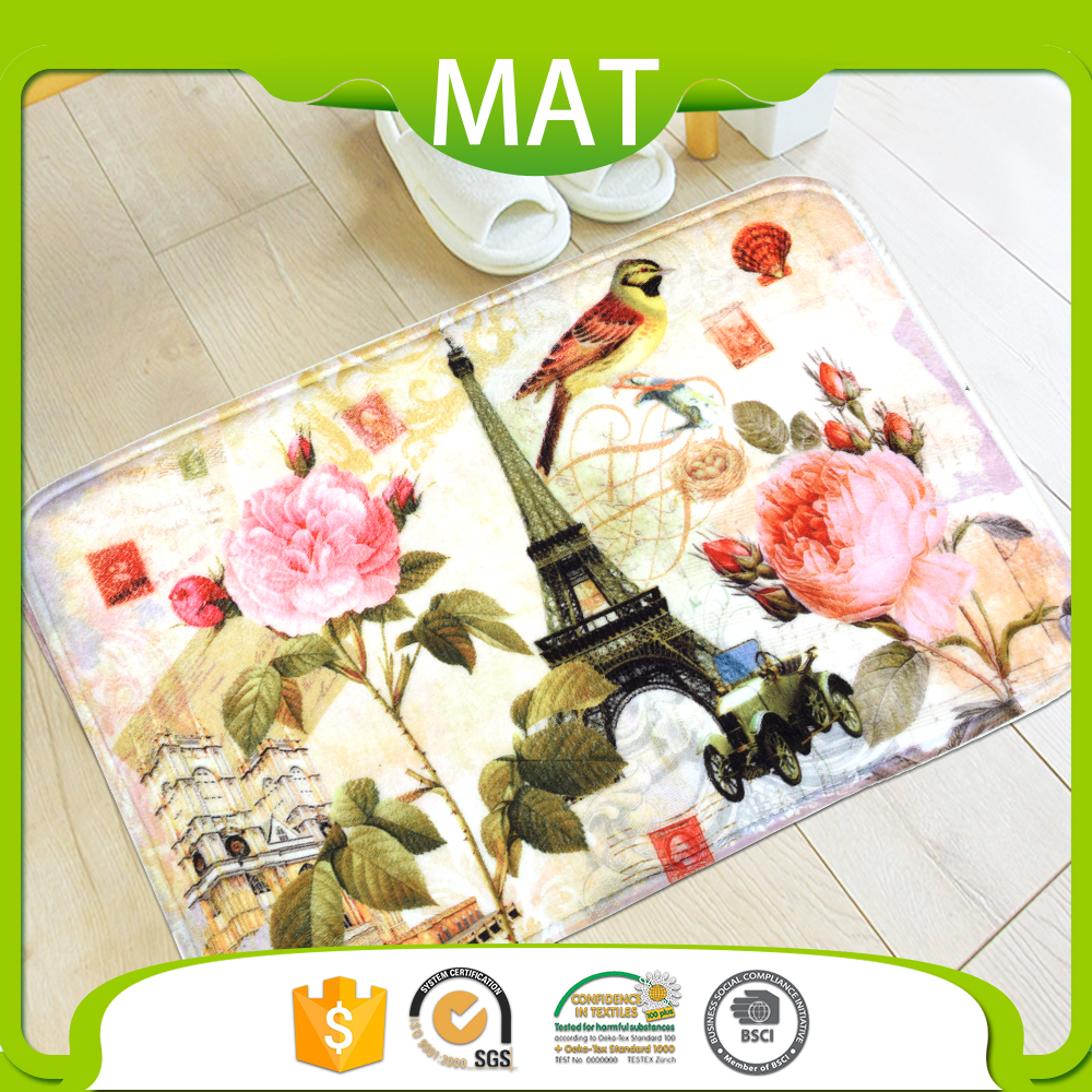 Indoor Flooring PVC Backing Washable Modern Floral Printed Carpet