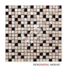 KS27 Lustre Crystal Beige Glass Stone Mix Mosaic Tiles 15x15mm