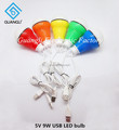 5V 9W colorful LED bulb with USB line
