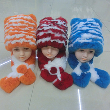 New Style 100% Real Rex Rabbit Fur Knitted Hat / Women's Winter Fur Hat And scarf