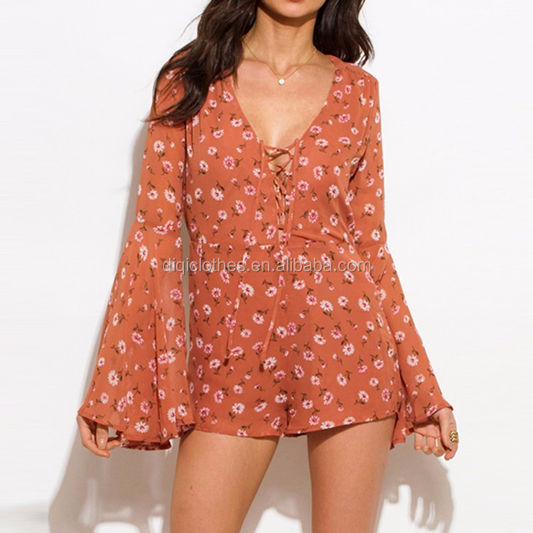 Wholesale Hot Fashion Boho Style Taupe Pink Floral Daisy Print Lace Up Long Bell Sleeve Women Casual Beach Romper Jumpsuit