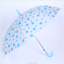 Outdoor Rain proof Automatic open stick umbrella dots print PVC umbrella