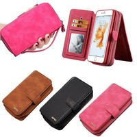 Free samples Genuine Leather Multifunction Case Cover+Zipper Wallet Card For iPhone 6/6S Plus