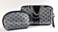 Fashion satin and style cosmetic bags the top quality quilted cosmetic bag