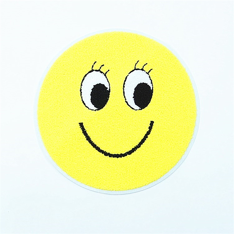 china Yellow smile emoji blank embroidery Chenille patch wholesale