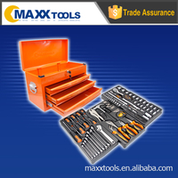 124pcs 3-DRAWER TOOL CHEST WITH ALUMINUM DRAWER HANDLES