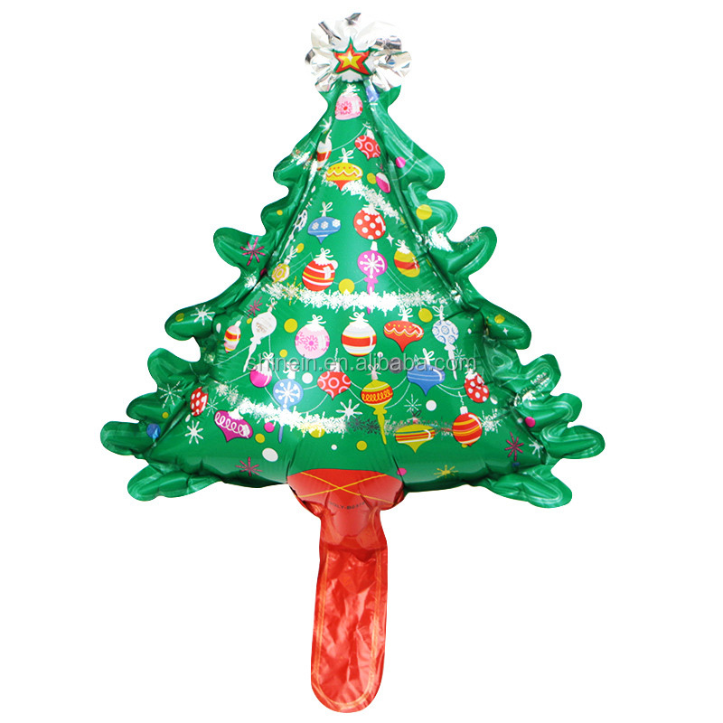 High quality inflatable xmas tree aluminum foil balloon cartoon air fill Christmas tree shape balloon