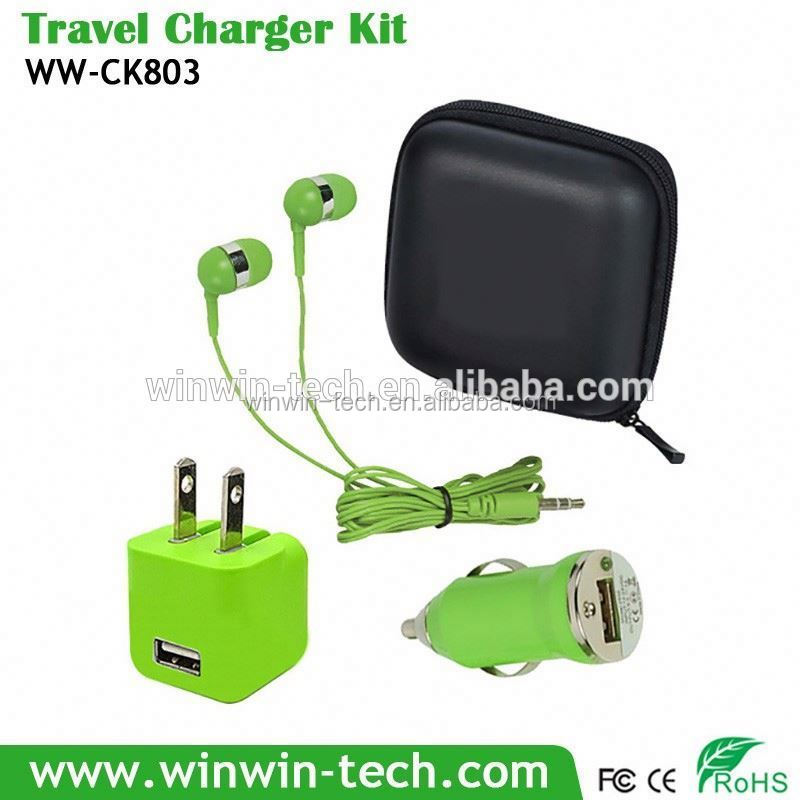 USB Travel charger sets 3 in1 car charger kit qc2.0 car charger