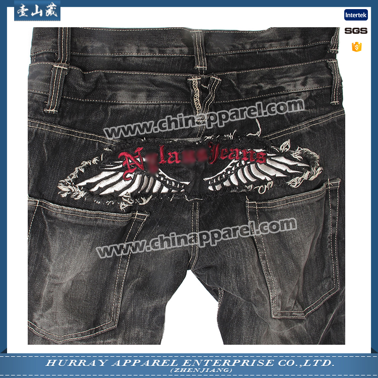 Modern design mens embroidery flare denim jeans for promotion