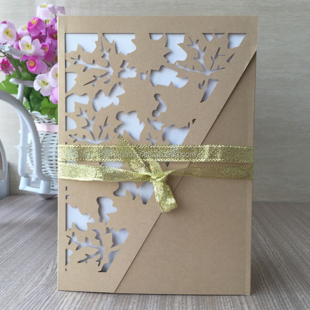 irregular shape maple leaf design light gold laser cut wedding invitation card /greeting /birthday card