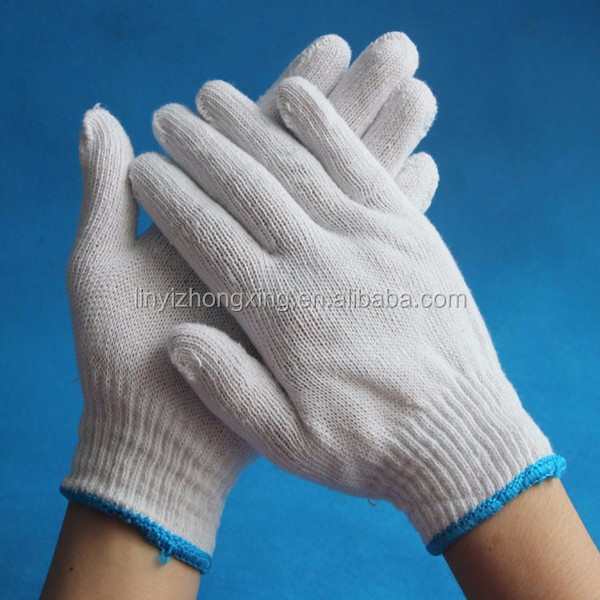 10 gauge bleached white cotton knitted working gloves 600g
