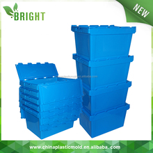 60L storage box heavy duty plastic moving crates with foldable lids