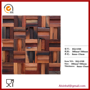 Wood mosaic 3d wall panels