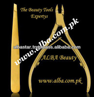 Premium Gold Plated Cuticle Nippers & Eyebrow Tweezers