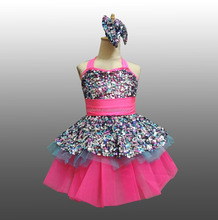 MBQ1064 Adult child pink sequin stage competition performance ruffle ballet tutu dress dance costume