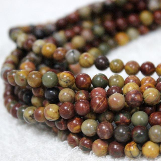 Wholesale loose gemstone picasso jasper beads 6mm