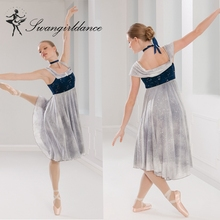 BL0122Teen girl lyrical dress stage ballet gray latin competition dance costume