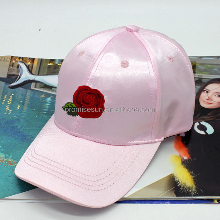 Hat lady's embroidered rose peaked visor mercerized bending hat pink camo baseball cap
