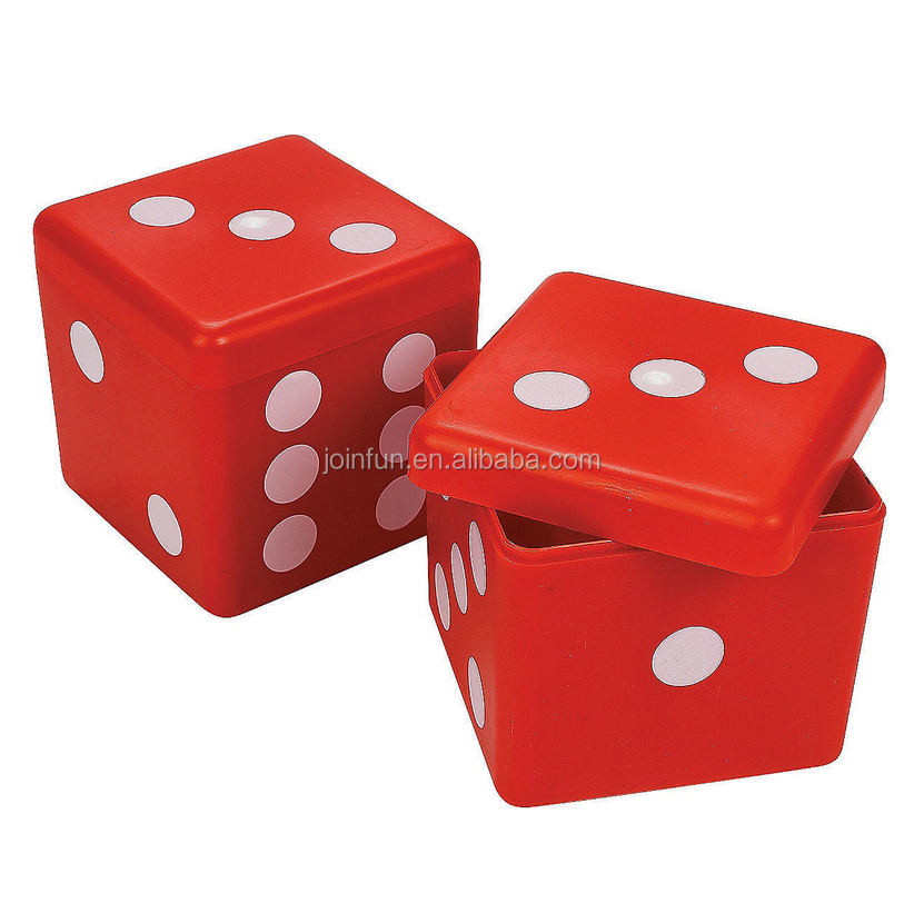 custom make PLASTIC RED DICE CONTAINER NOVELTY STORAGE BOX