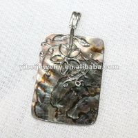 Hotsale abalone shell and copper flower pendant