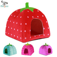 Folding Strawberry Dog Bed Houses Soft Fleece Puppy Kennel Detachable