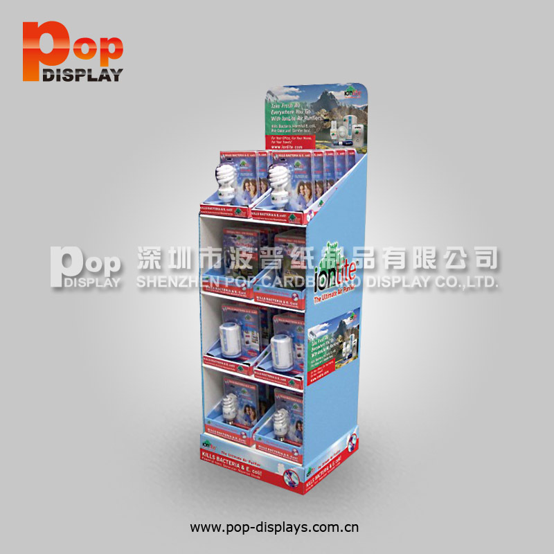 3-tier floor display rack for lighting tube, paper rack for bulb promotion