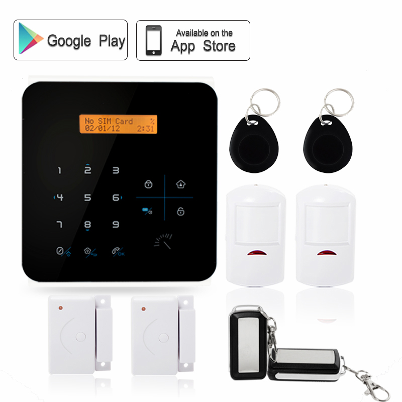 Wireless keypad 868mhz gsm door phone auto dial sms app control home fire alarm security system manual