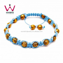 Mens Bracelet Gold Round Beads in Plated Stainless Steel Light Blue Wax Cord Shamballa Inspired Adjustable