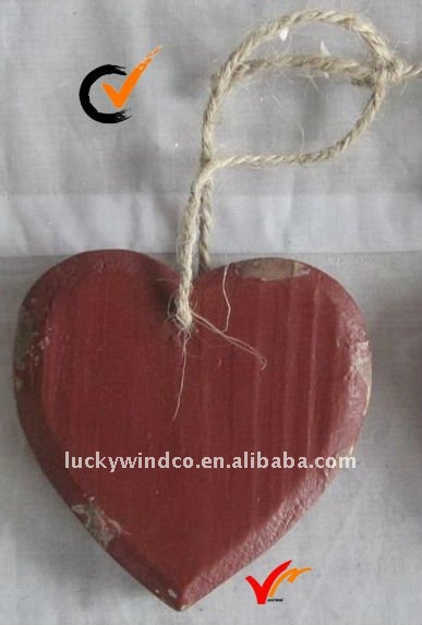 red heart shabby chic wooden antique wall decor