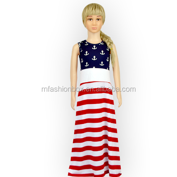 Hot Sale 4th Of July Girls Maxi Dress Latest Party Wear Dresses For Girls Party Dresses