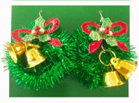 Latest design christmas wholesale wreath big bell light up led party favor earrings
