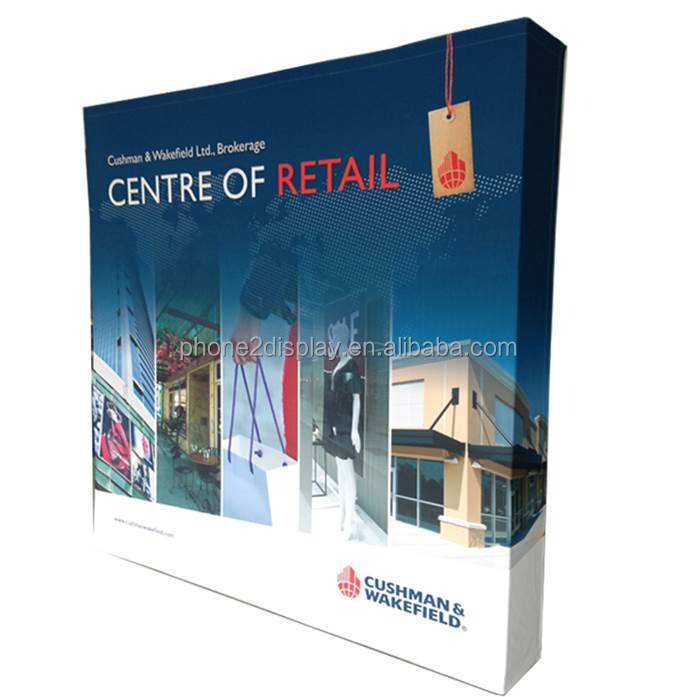 8ft Fabric pop up display with dye-sublimation printing graphic with trolly bag to carry,LED spot light in optional.