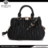 Wishche 2016 Alibaba China Handbag No MOQ Fashion Ladies Leather Vanity Bag Brand Name Handbags Genuine Leather Bags Style W1059
