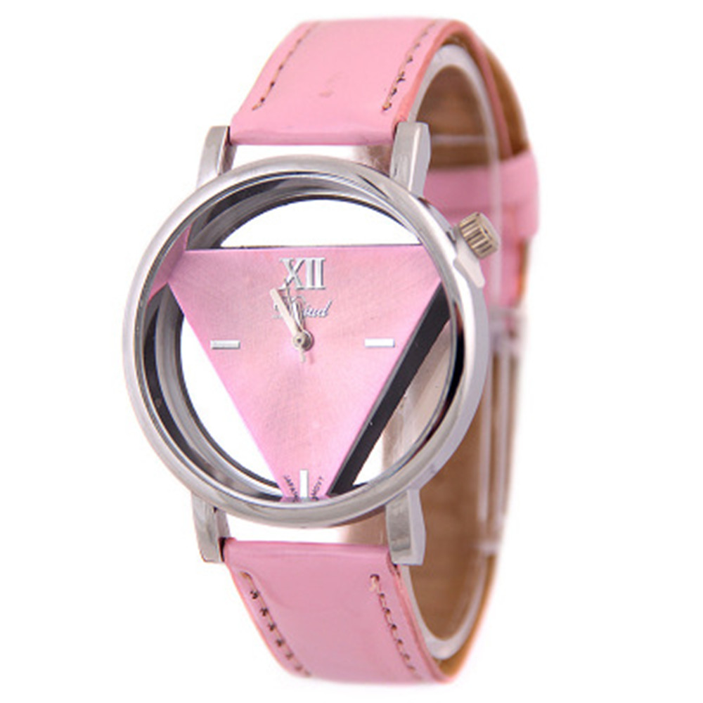 New Arrival Fashion Triangle Personality Hollow Sapphire Glass Women Watch