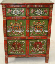 Chinese antique furniture, Two drawer Two door Tibetan Hand Painting Cabinet