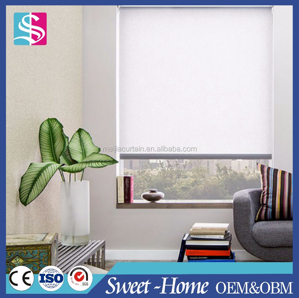 Solid Color Sunscreen Roller Blinds With Side Tracks