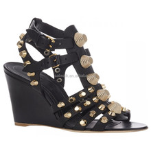 Summer Fashion Design Shoes Sexy Stud Wedge Heel Lady Sandal