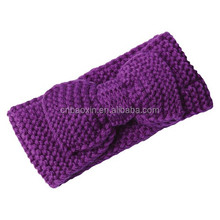 Solid Color Bowknot Decorative Cotton Thread Knitted Elastic Warm Hair band/Headband