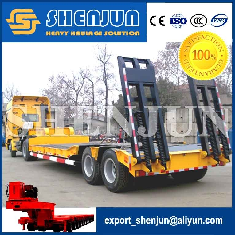 13m 2 axle low bed mini small drawbar trailer for excavator transport