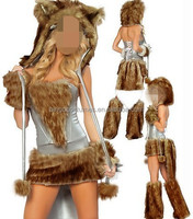 2013 Wholesale High Quality Lion Furry Women Sexy Animal Costumes