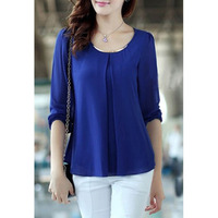 Fashion Women's Loose Chiffon Tops Long Sleeve Shirt Casual Blouse