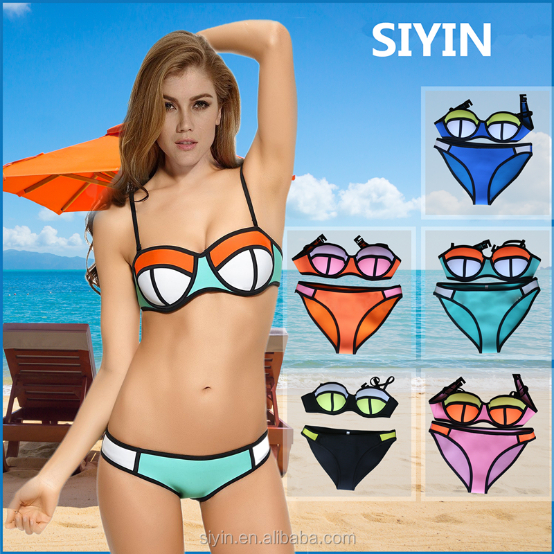 Hot sexy neoprene bikini for lady good quality lycra fabric bikini OEM