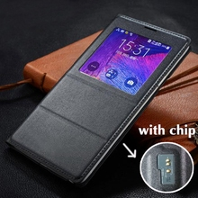 Original Smart View Window flip Cover Leather Phone Case With Chip For Samsung Galaxy Note 4